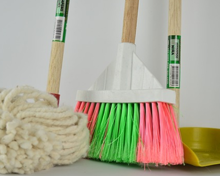 Cleaning with mops and brooms